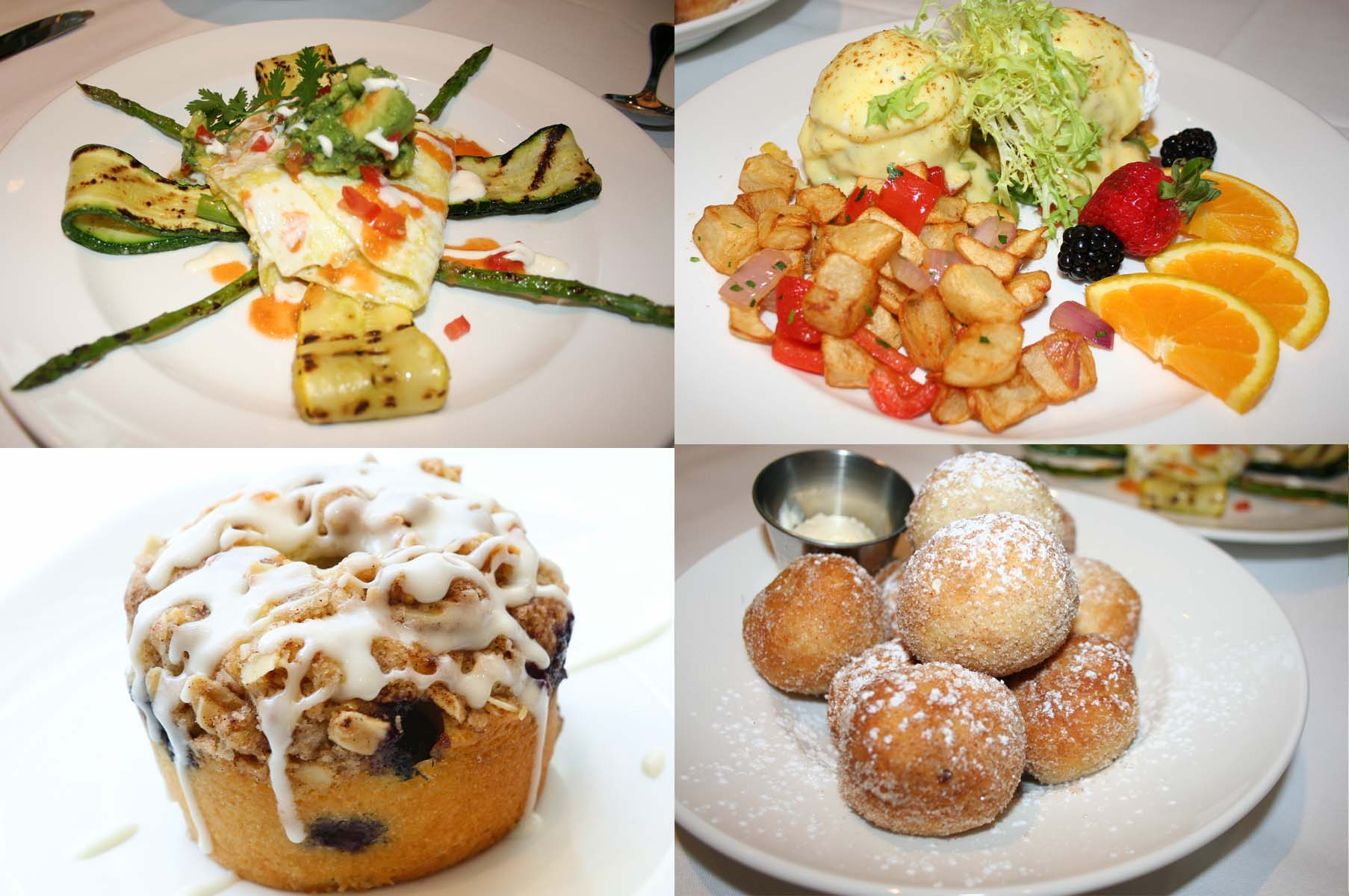 On the West End bistro's breakfast menu is (clockwise from top left) the Healthy Deluxe, the crab cake & fried green tomato Benedict, beignets and Sully's coffee cake. (Photos: Mark Heckathorn/DC on Heels)