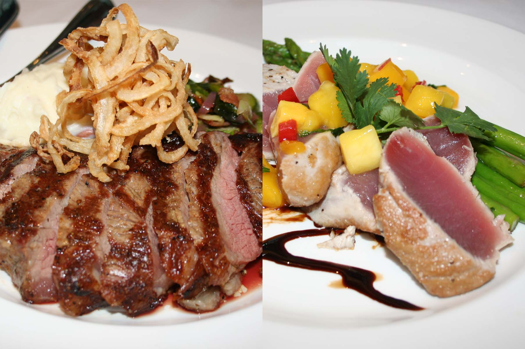 New entrees for Cafe Deluxe West End include the 14-ounce New York strip with Brussells sprouts and horseradish mashed potatoes (left) and the seared ahi tuna with mango salsa and asparagus. (Photos: Mark Heckathorn/DC on Heels)