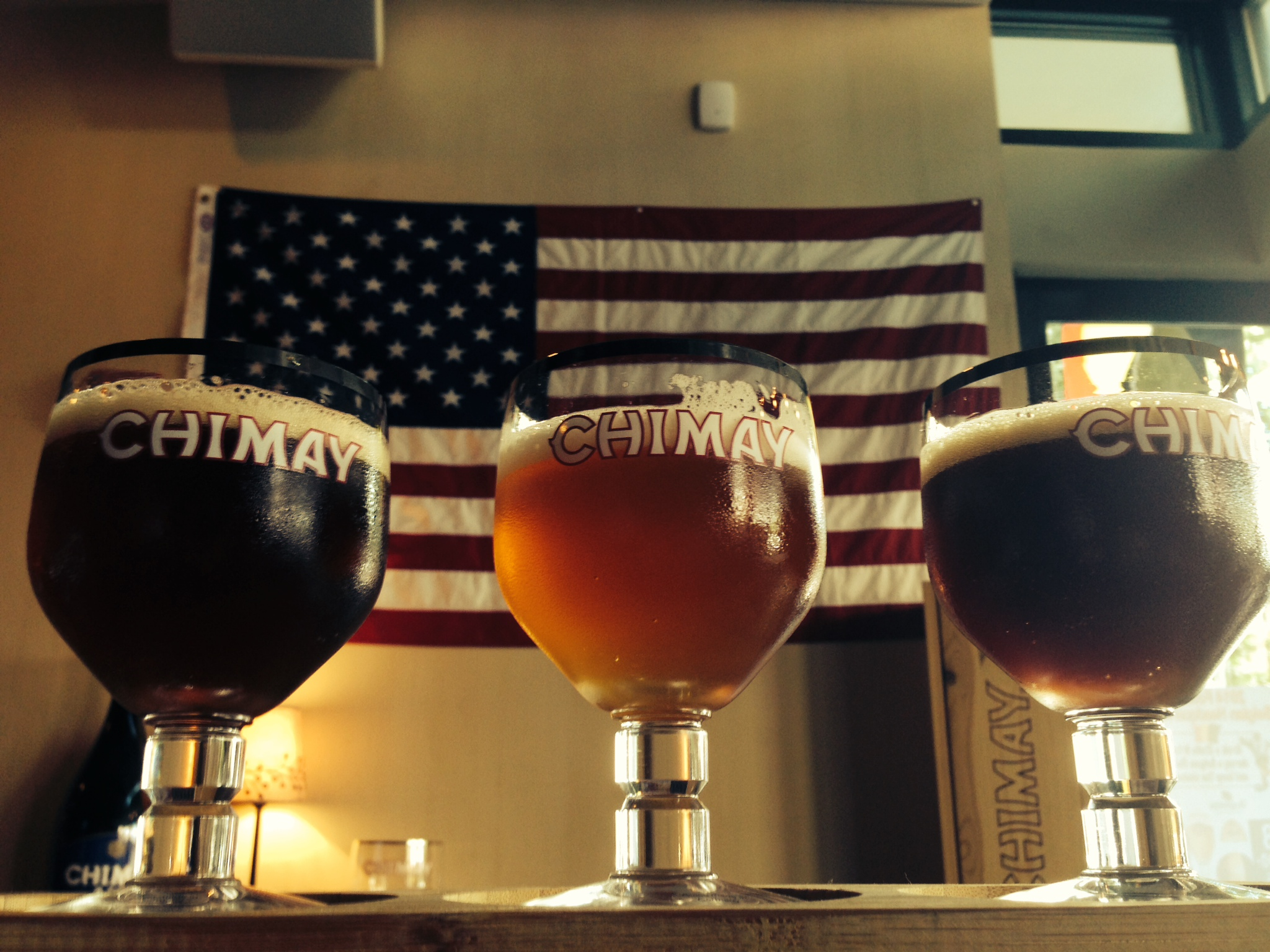 The red, white and blue Chimay beer flight being offered at Belga Cafe and B Too. (Photo: Belga Cafe/B Too)