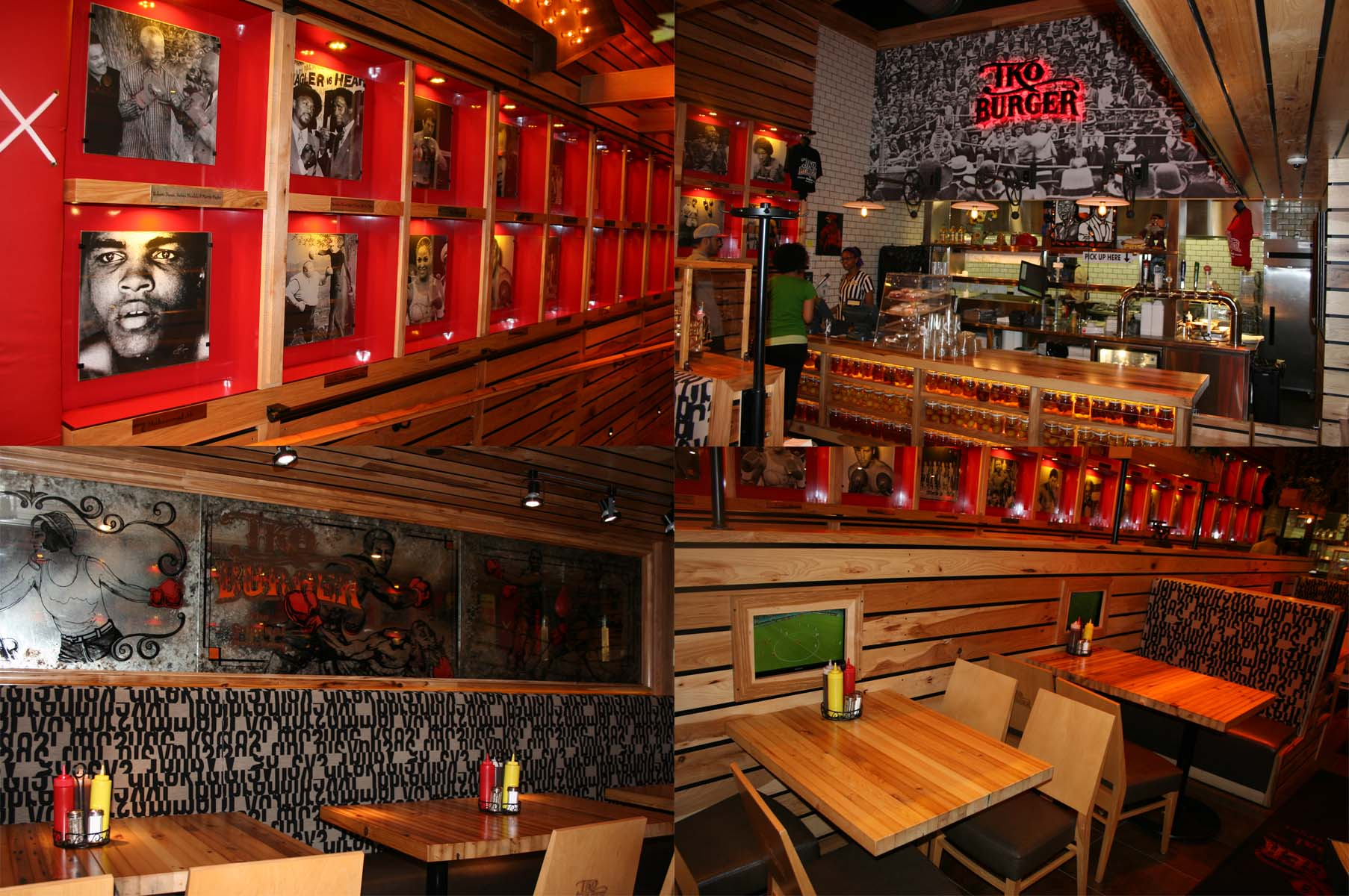 TKO Burger's interior has a boxing theme with photos, memorabilia and TVs showing sports. (Photos: Mark Heckathorn/DC on Heels)
