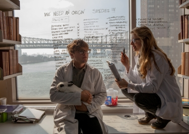 Michael Pitt as Dr. Ian Grey and Brit Marling as Karen in