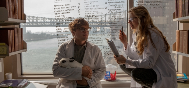 Michael Pitt as Dr. Ian Grey and Brit Marling as Karen in
