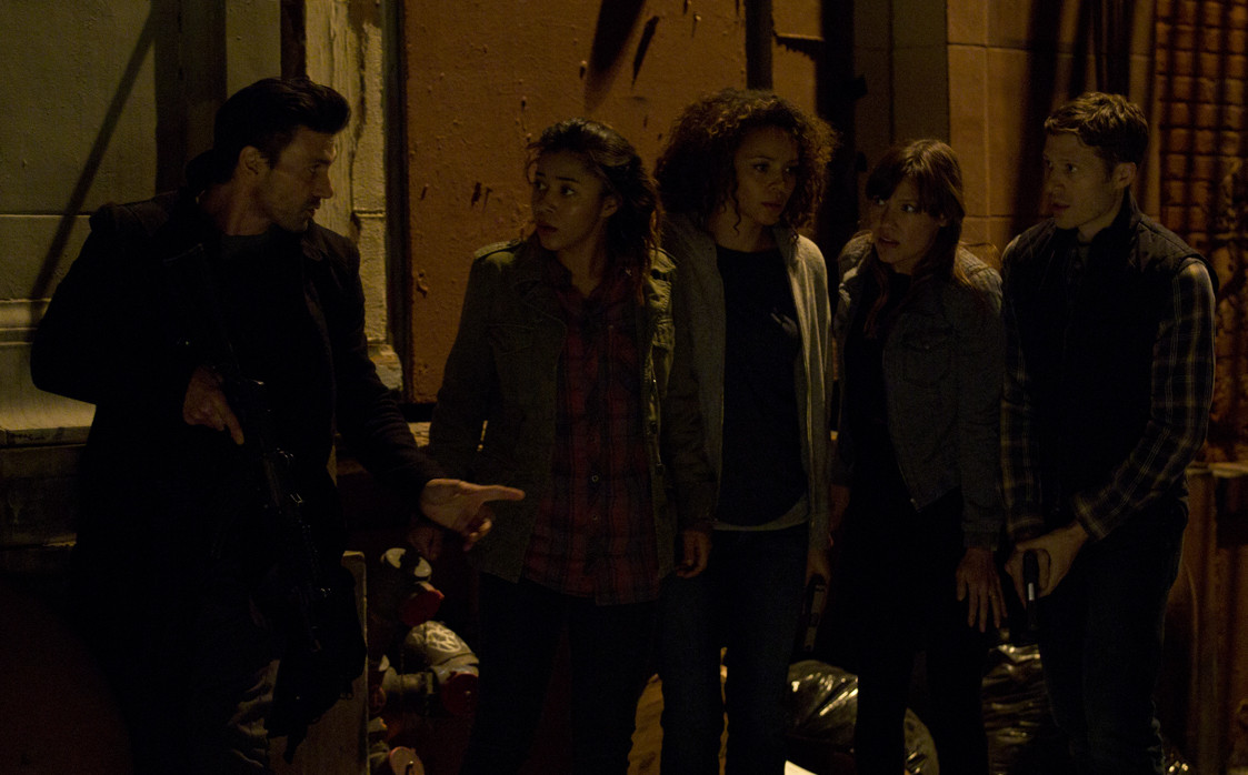 Five strangers (l to r: Frank Grillo, Zoë Soul, Carmen Ejogo,Kiele Sanchez and Zach Gilford, ) try to stay alive during the annual purge. (Photo: Jason Lubin/Blumhouse Productions)