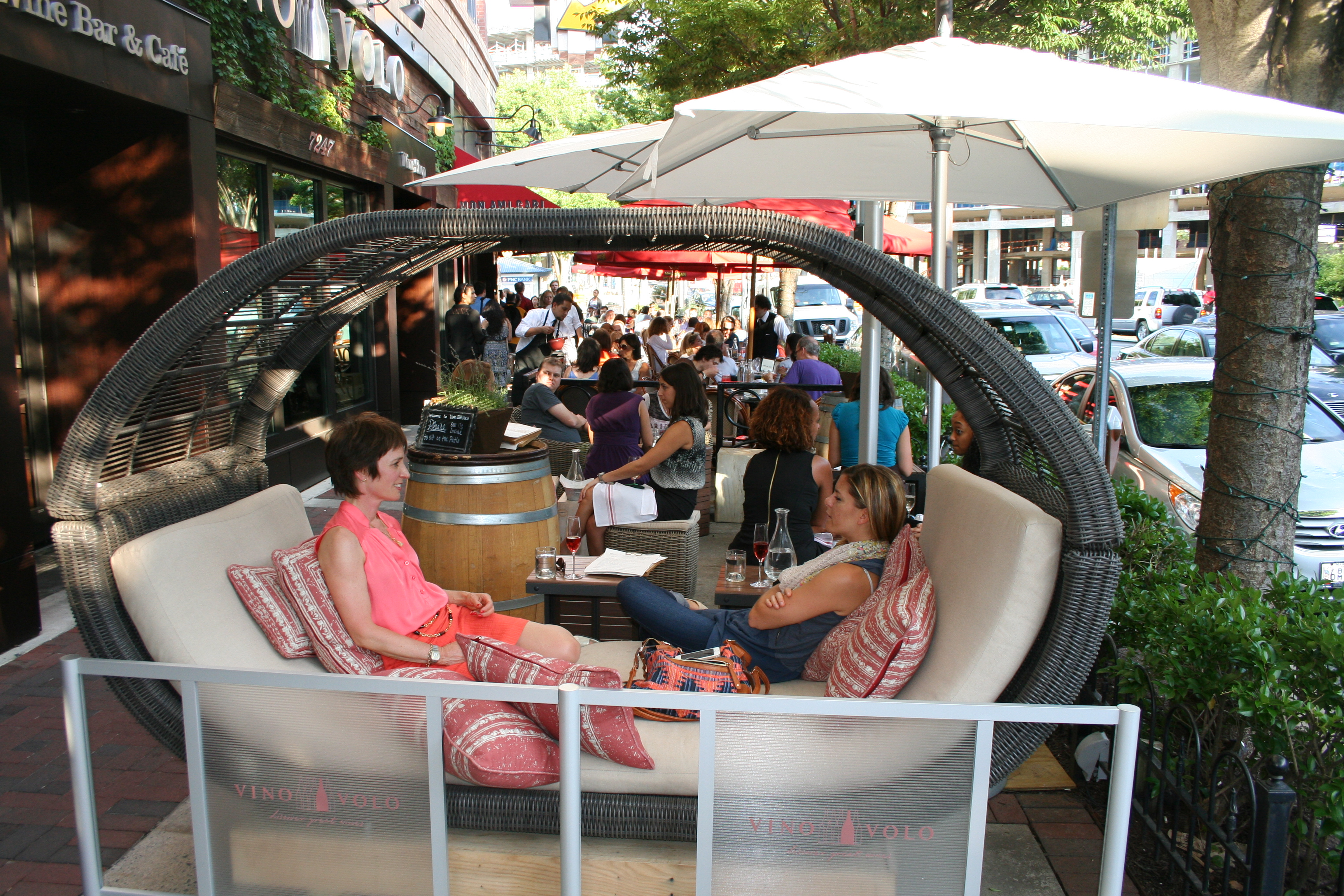Relax on Vino Volo's outdoor patio with a glass of wine and a bite from the new small plates menu. (Photo: Mark Heckathorn/DC on Heels)