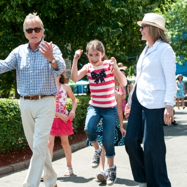 Michael Douglas, Sterling Jerins and Diane Keaton (l to r) enjoy an afternoon at an amusement park