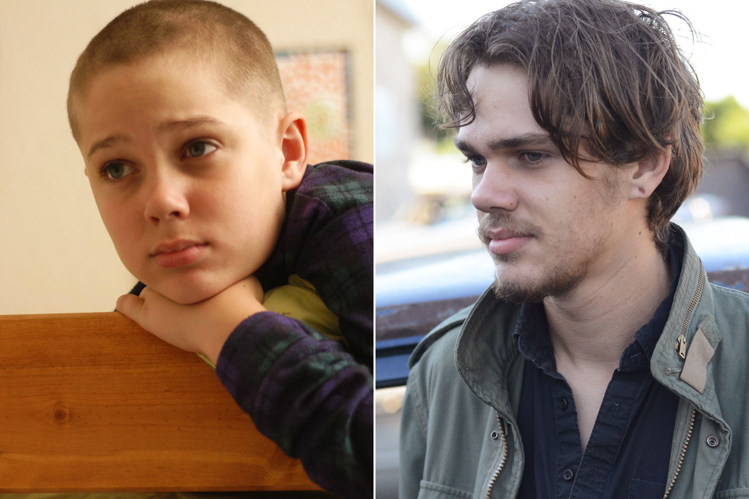 "Ellar Coltrane (age 9 left, age 17 right) grows up right before your eyes in ""Boyhood."" (Photo: Matt Lankes/IFC Films)"