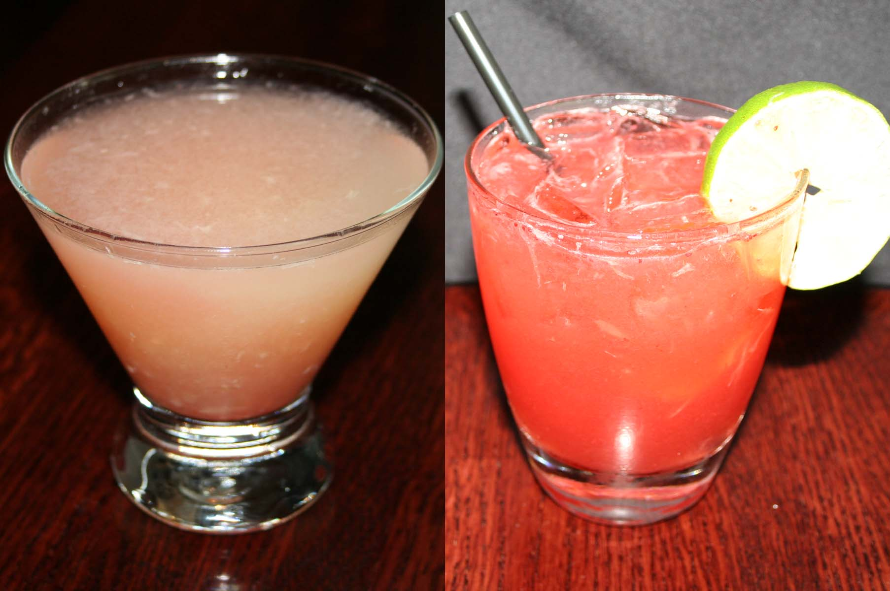 Limited-time cocktails include the Monte Alegre (left) and the Strawberry Basil Caipiroska. (Photos: Mark Heckathorn/DC on Heels)