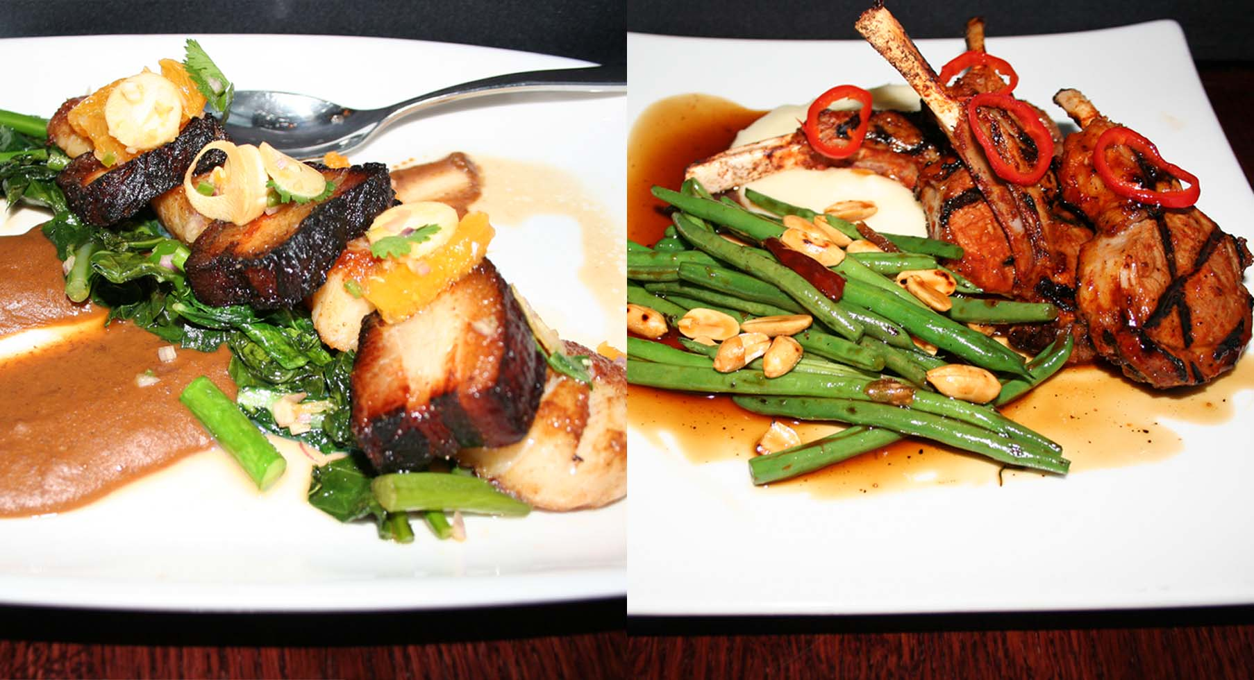 TK entrees include sea scallop and char sui pork belly (left) and Kung Pao lamb chops asado. (Photos: Mark Heckathorn/DC on Heels)