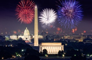 Fireworks light up the night sky over the monuments. (Photo: Capitol Concerts)