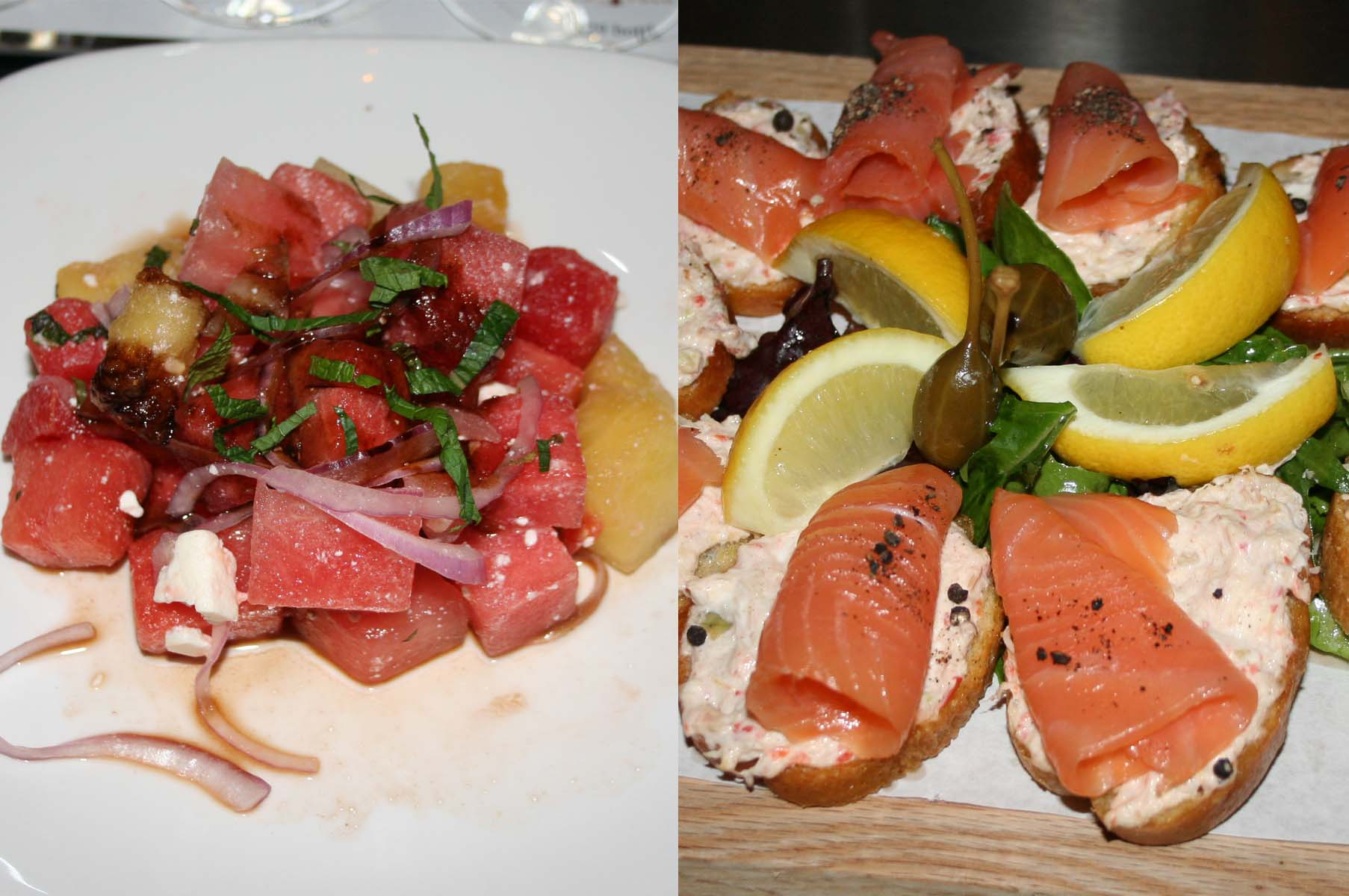 Vino Volo's watermelon and feta salad (left) and Atlantic salmon rolls. (Photos: Mark Heckathorn/DC on Heels)