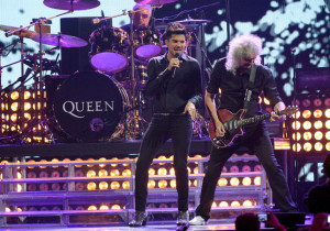 Adam Lambert, Roger Taylor and Brian May of Queen performs in Las Vegas, Nev. (Photo: Jeff Kravitz/FilmMagic)