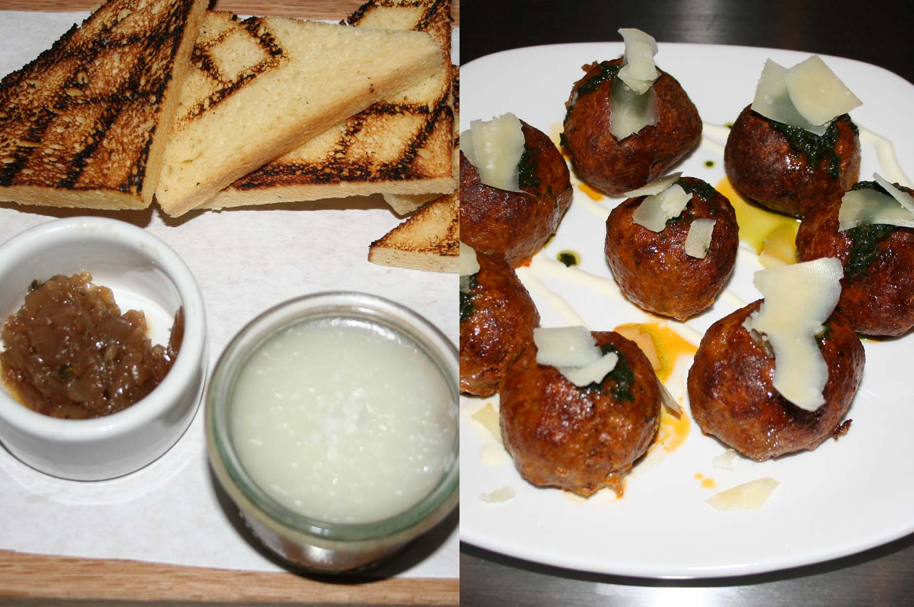 Wine country chicken pate with brioche thyme toast points (left) and lamb meatballs from Vino Volo's new small plates menu. (Photos: Mark Heckathorn/DC on Heels)