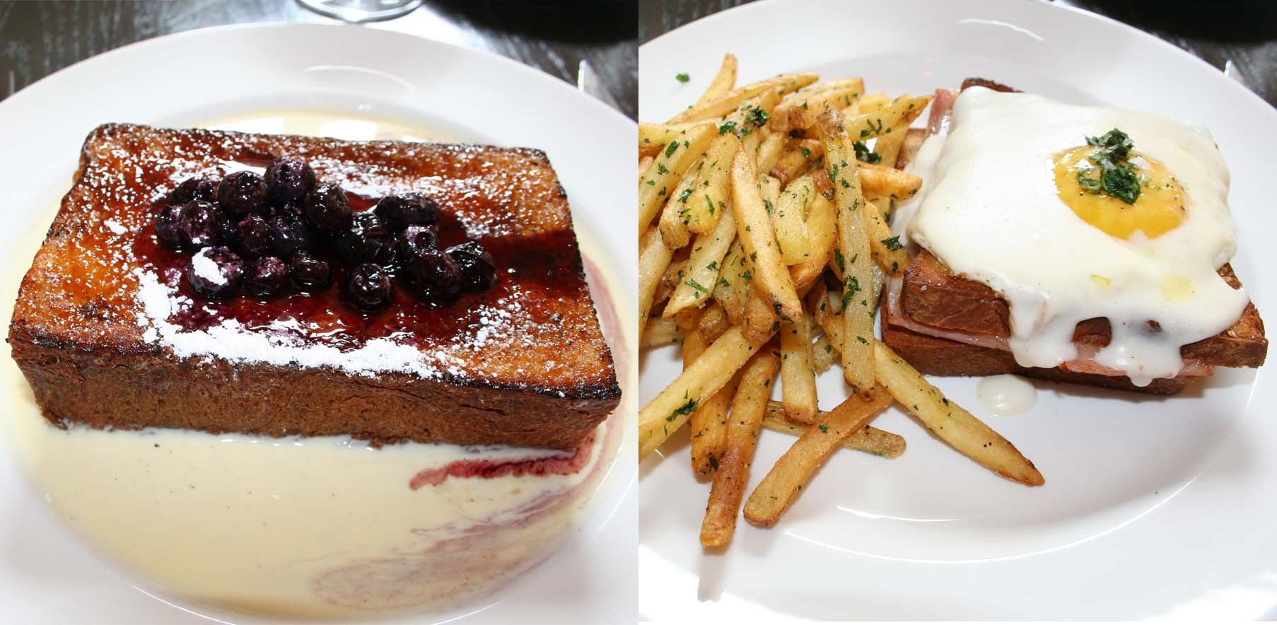 Bearnaise's crème brulee French toast (left) and croquet madame brunch selections. (Photos: Mark Heckathorn/DC on Heels)