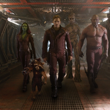 Gamora (Zoe Saldana) (l to r), Rocket (voiced by Bradley Cooper), Peter Quill/Star-Lord (Chris Pratt), Groot (voiced by Vin Diesel) and Drax the Destroyer (Dave Bautista) from