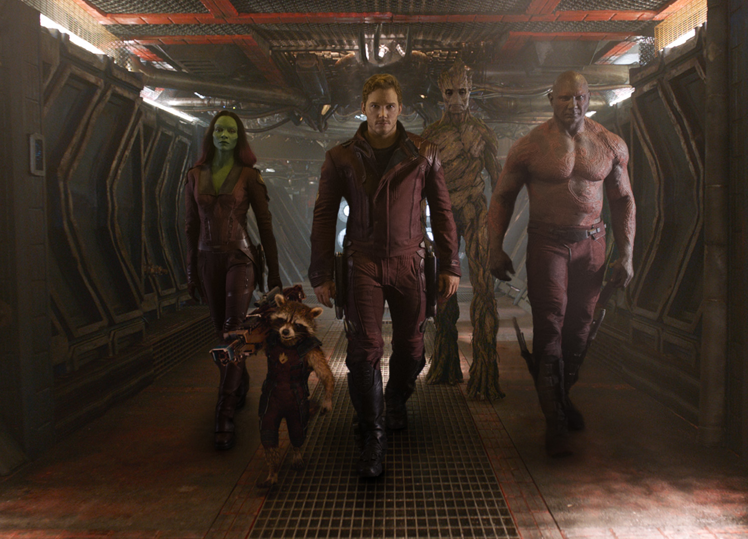 "Gamora (Zoe Saldana) (l to r), Rocket (voiced by Bradley Cooper), Peter Quill/Star-Lord (Chris Pratt), Groot (voiced by Vin Diesel) and Drax the Destroyer (Dave Bautista) from ""Guardians of the Galaxy."" (Photo: Marvel Studios)"