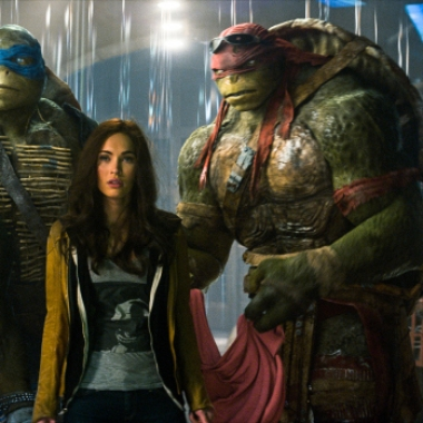 Michelangelo, Leonardo, Megan Fox as April O'Neil, Raphael and Donatello (L to R) in Teenage Mutant Ninja Turtles. (Photo: Paramount Pictures)