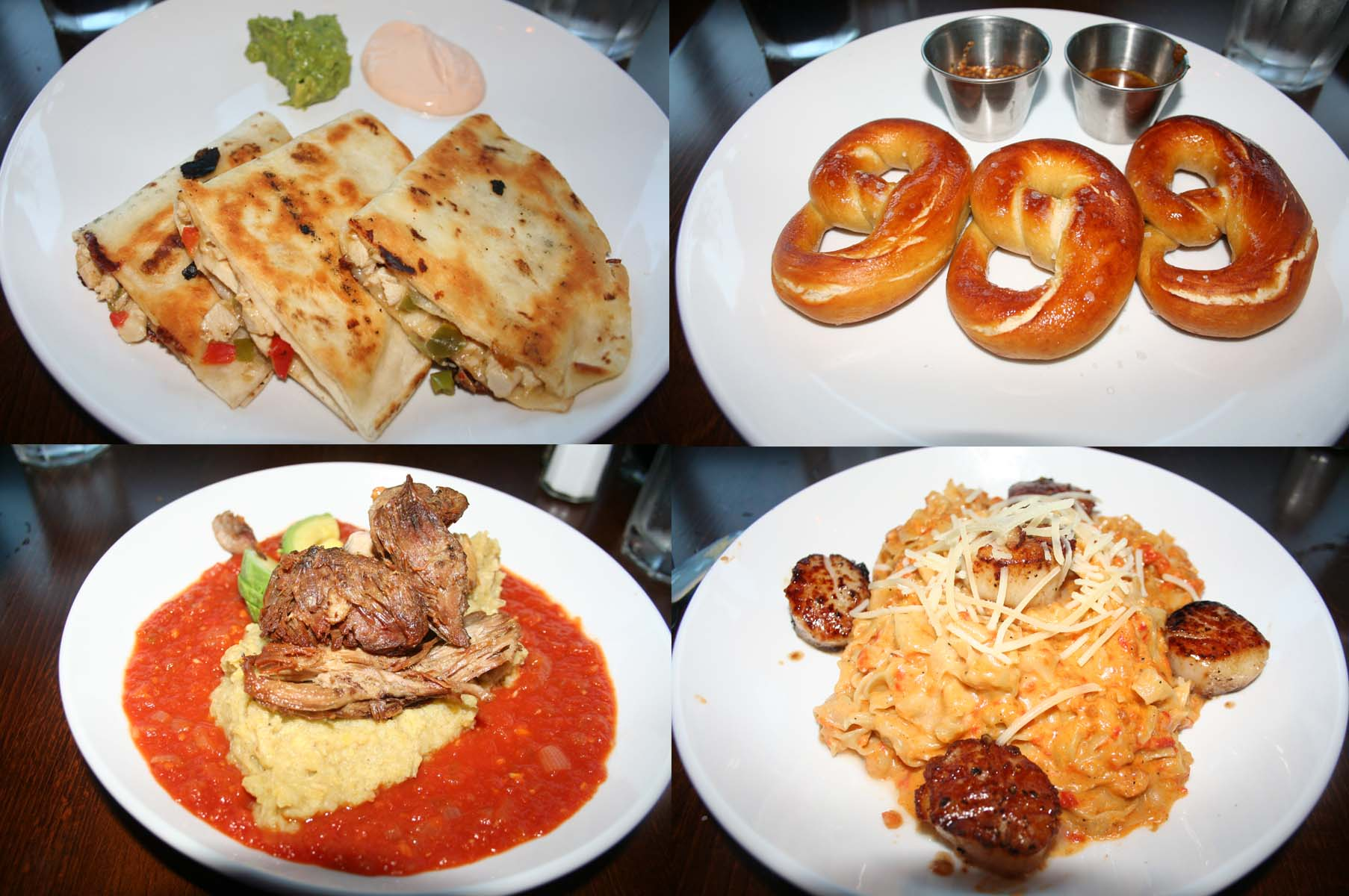 Appetizers include (top, l to r) grilled chicken and pepper quesadilla and soft pretzels. Entrees (bottom, l to r) include the Puetro Rican mofongo and the seared scallops. (Photos: Mark Heckathorn/DC on Heels)