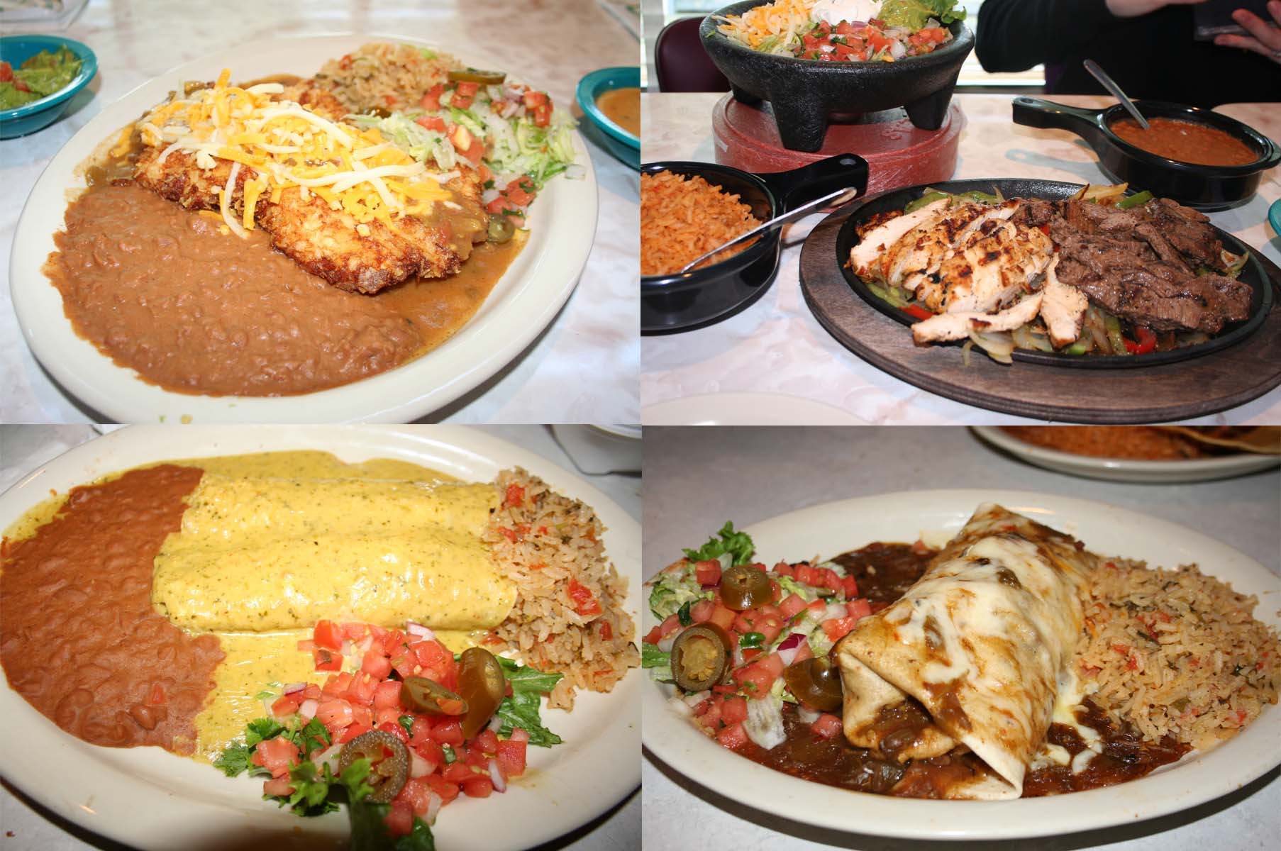 Entrees include (clockwise from top left) the Elvis green chile fried chicken, combination fajitas, the steak burrito with green chile sauce and Chicka-Chicka Boom-Boom enchiladas. (Photos: Mark Heckathorn/DC on Heels)