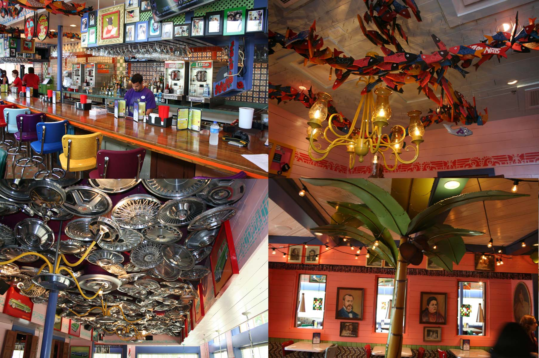 Chuy's Fairfax features La Chihuahua Bar (clockwise from top left), hand-carved wooden fish,  metal palm trees and a hub cap-covered ceiling. (Photos: Mark Heckathorn/DC on Heels)