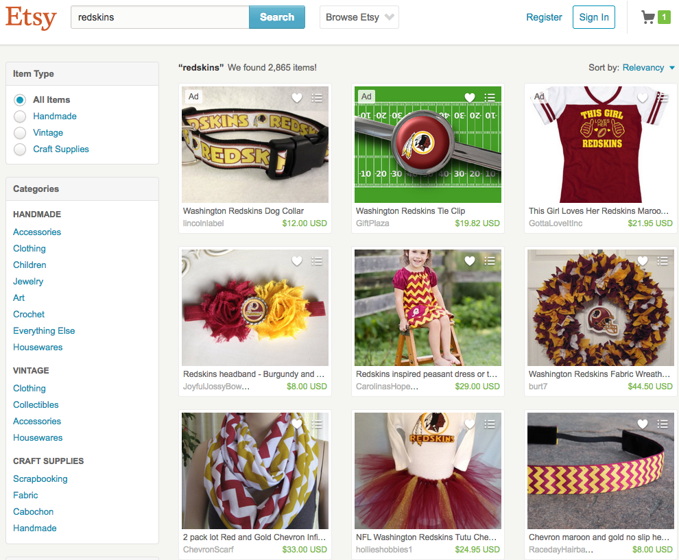 Until now, fans could find practically all things Redskins on Etsy. (Photo: Etsy screencapture)