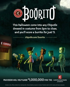 At Chipotle's annual Boorito fundraiser, you can get a burrito or other food for $3. (Graphic: Chipotle)