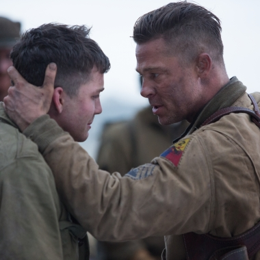 Wardaddy (Brad Pitt) with Noman (Logan Lerman) in