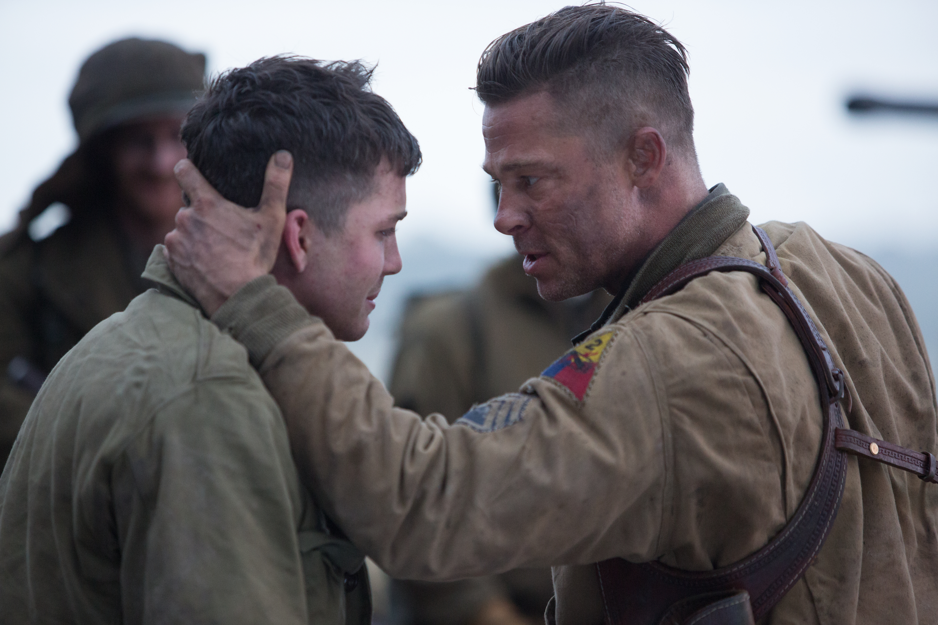 "Wardaddy (Brad Pitt) with Noman (Logan Lerman) in ""Fury."" (Photo: Giles Keyet/Sony Pictures)"