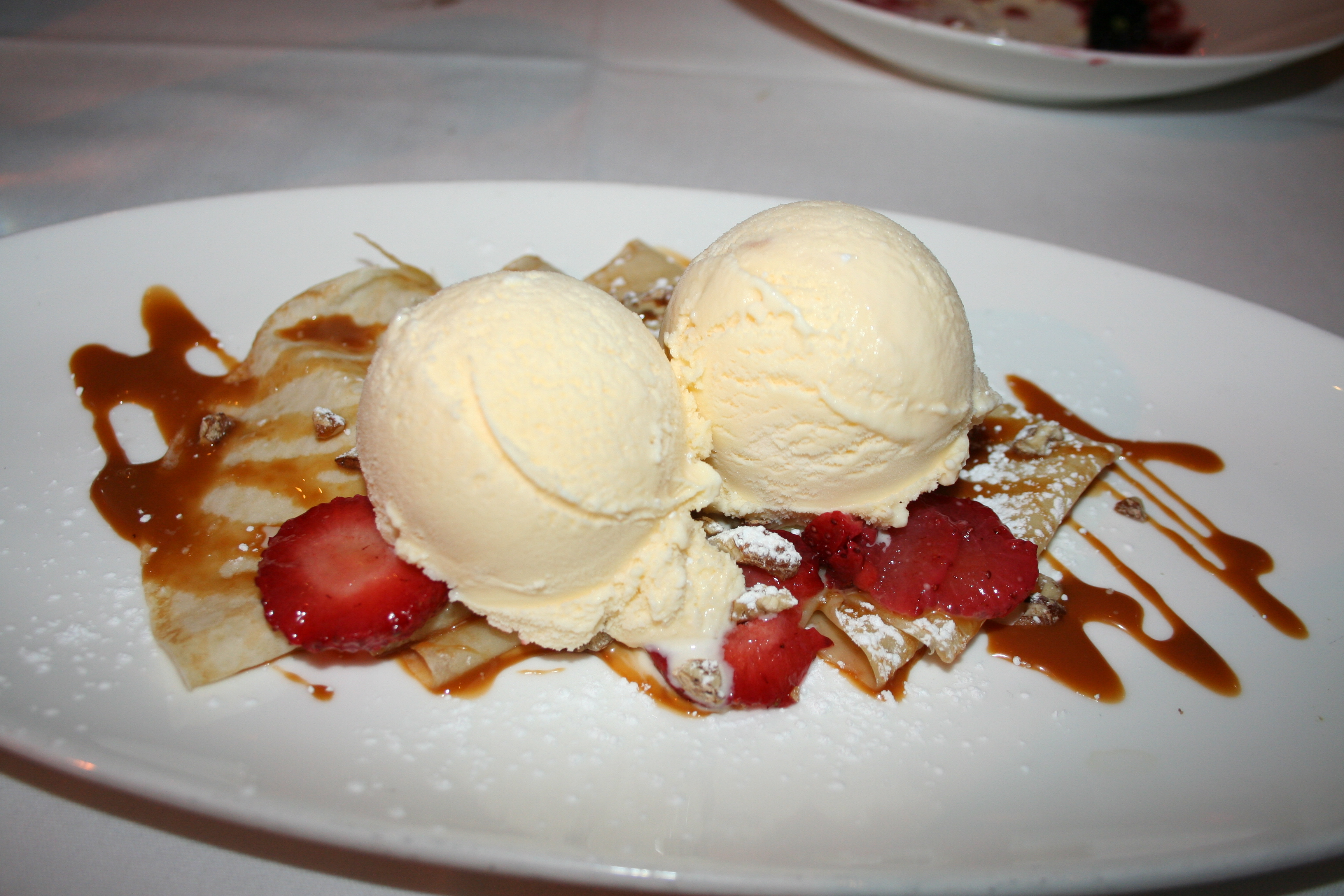 Crepas con cajeta: Crepes with caramel, strawberries and Mexican vanilla ice cream. (Photo: Mark Heckathorn/DC on Heels)