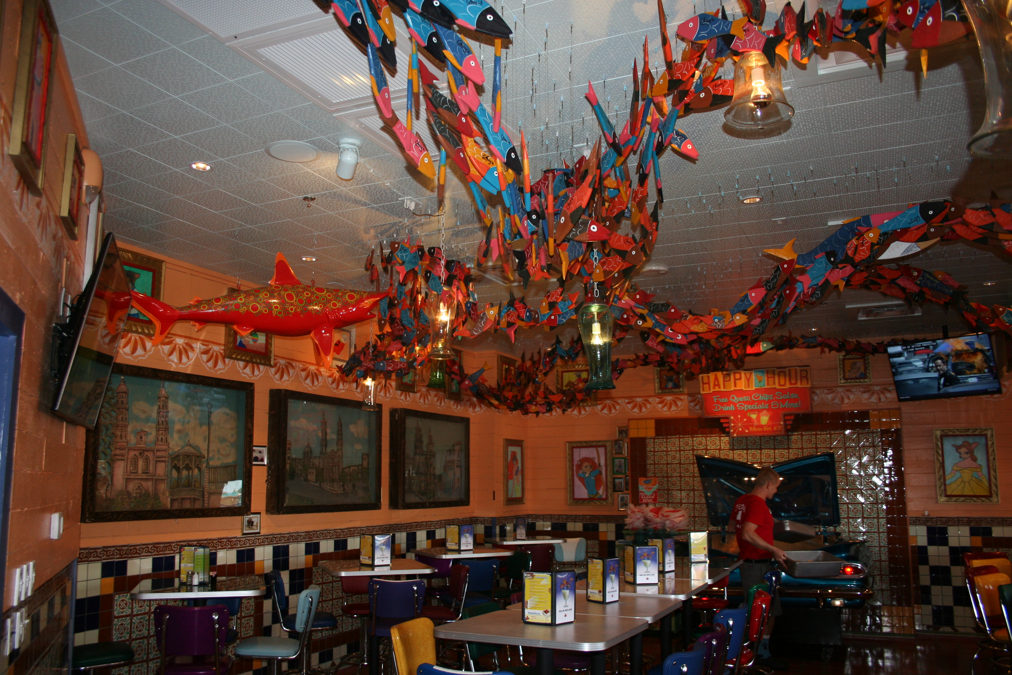 A school of wooden fish leads from the entrance to the bar and Nacho Car. (Photo: Mark Heckathorn/DC on Heels)