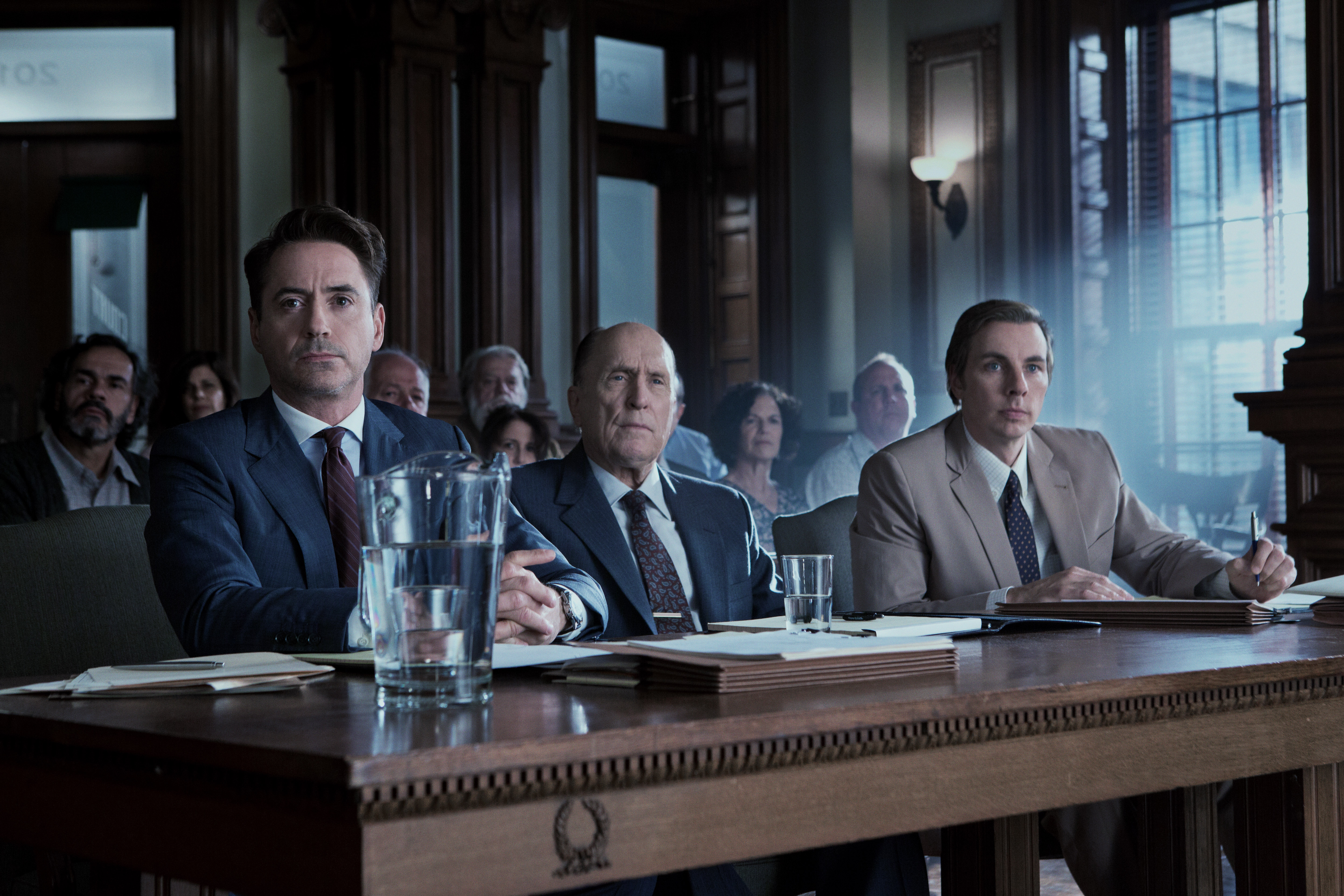 "Robert Downey Jr. (l to r),Robert Duvall and Dax Shepard at trial in ""The Judge."" (Photo: Claire Folger/Warner Bros.)"