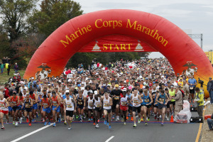 The Marine Corps Marathon is Sunday starting on Route 110 between the Pentagon and Arlington National Cemetery. (Photo: Jose Luis Magana/AP)
