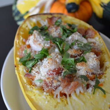 Spaghetti squash with shrimp and bacon (Photo: Lanna Nguyen/DC on Heels)
