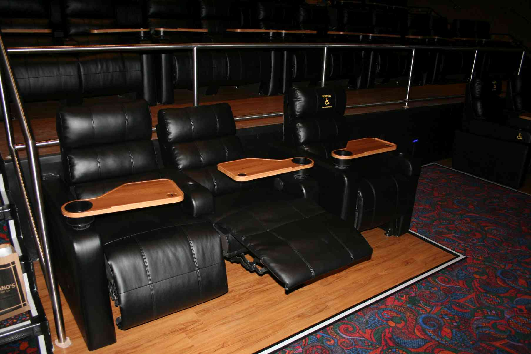 The Regal Cinema 12's electric, reclining seats. (Photo: Mark Heckathorn/DC on Heels)