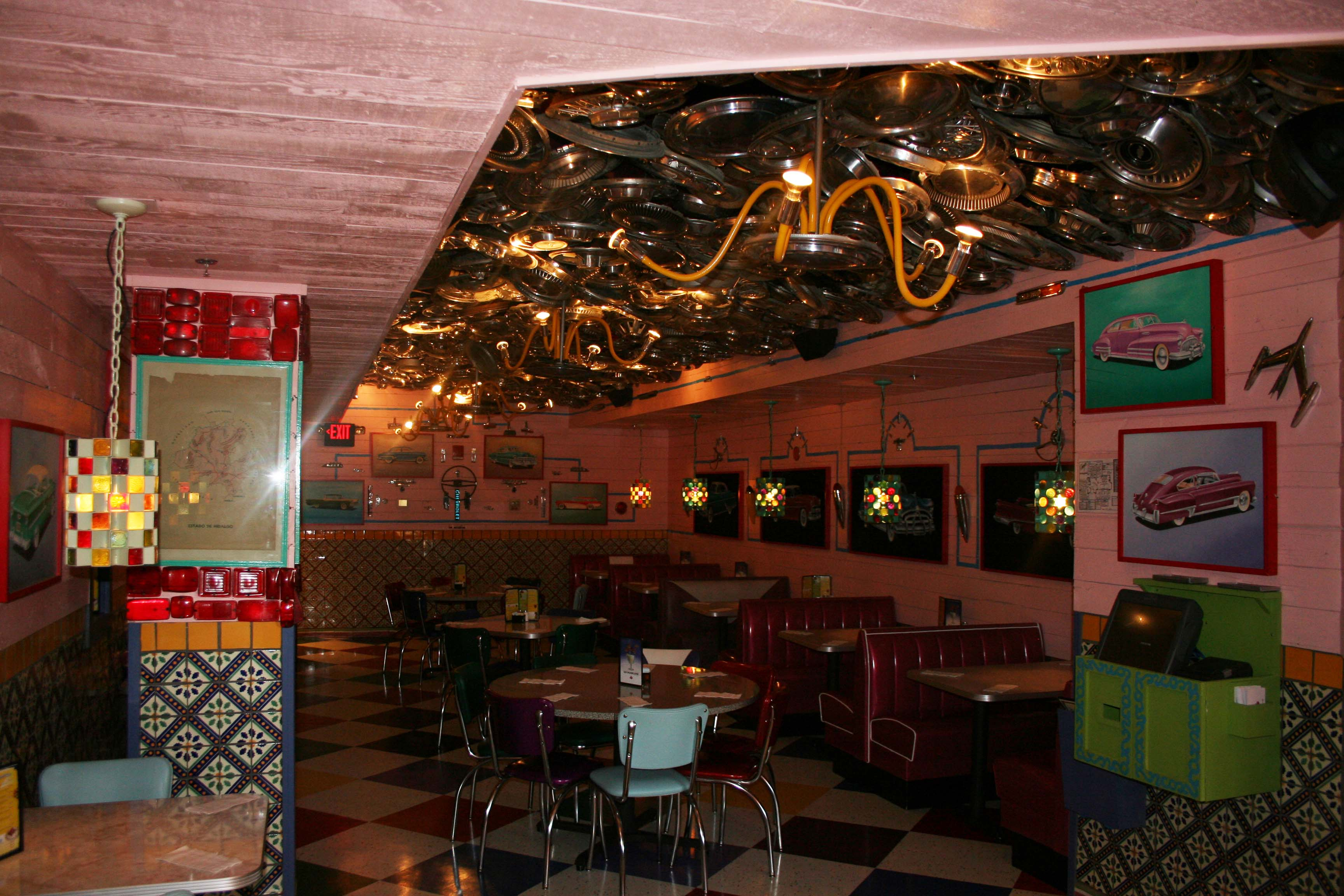 Chuy's Springfield's hubcap dining room. (Photo: Mark Heckathorn/DC on Heels)