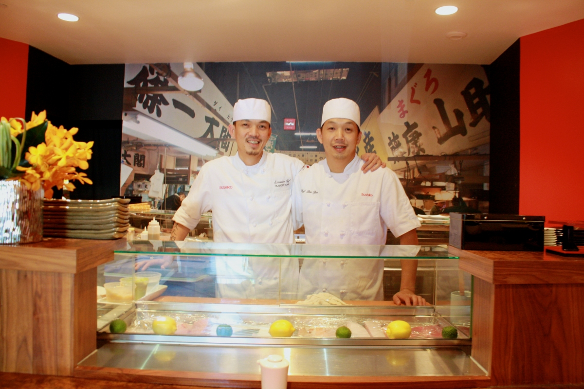Brothers and chefs Handry (left) and Piter Tjan at Sushiko in Chevy Chase. (Photo: Bethesda Magazine)