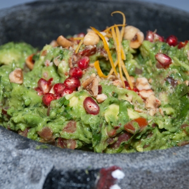 Rosa Mexicano's guacamole de otoño with pomegranate and toasted pumpkin seeds. (Photo: Rosa Mexicano)