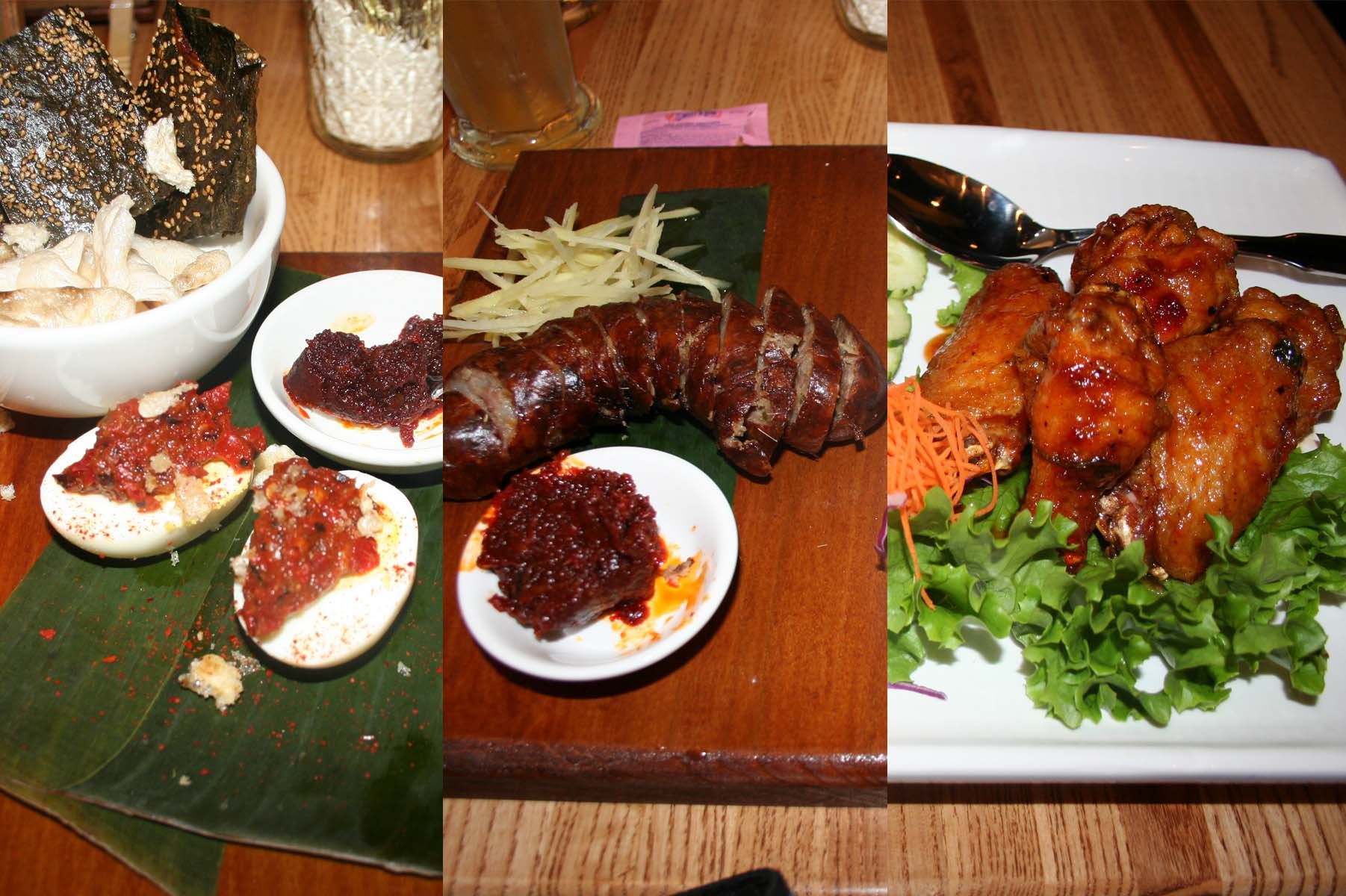 Appetizers (l to r) include Lao deviled eggs, seaweed and pork rinds; saioua pork sausage and chuenh peek gai chicken wings. (Photos: Mark Heckathorn/DC on Heels)