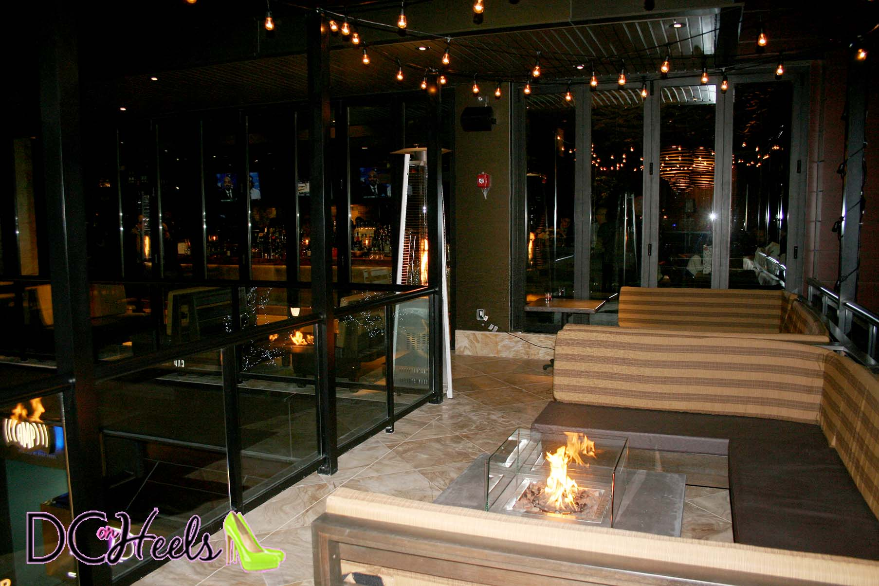 City Perch's terrace overlooking the downstairs entrance is head with fireplaces for almost year round use. (Photo: Mark Heckathorn/DC on Heels)
