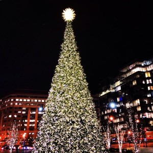 The plaza at CityCenterDC is decked out for Christmas and hosts concerts this weekend. (Photo: CityCenterDC)