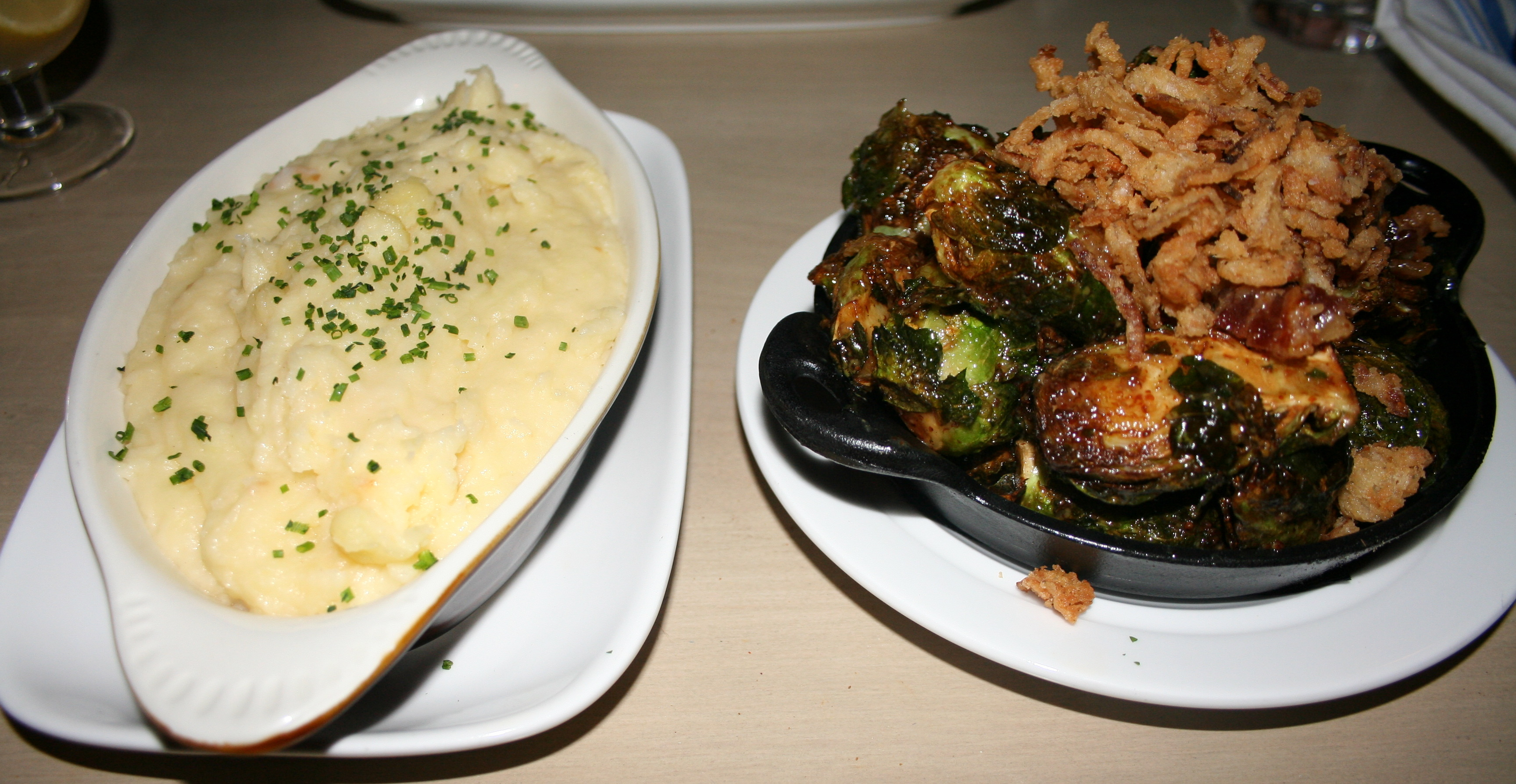 Second State sides include gouda mashed potatoes (left) and crispy Brusses sprouts. (Photo: Mark Heckathorn/DC on Heels)
