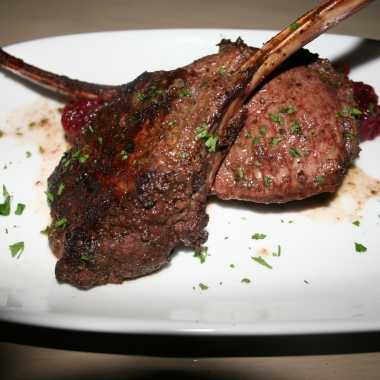 Coffee-cocoa rubbed venison chops with blackberry compote. (Photo: Mark Heckathorn/DC on Heels)