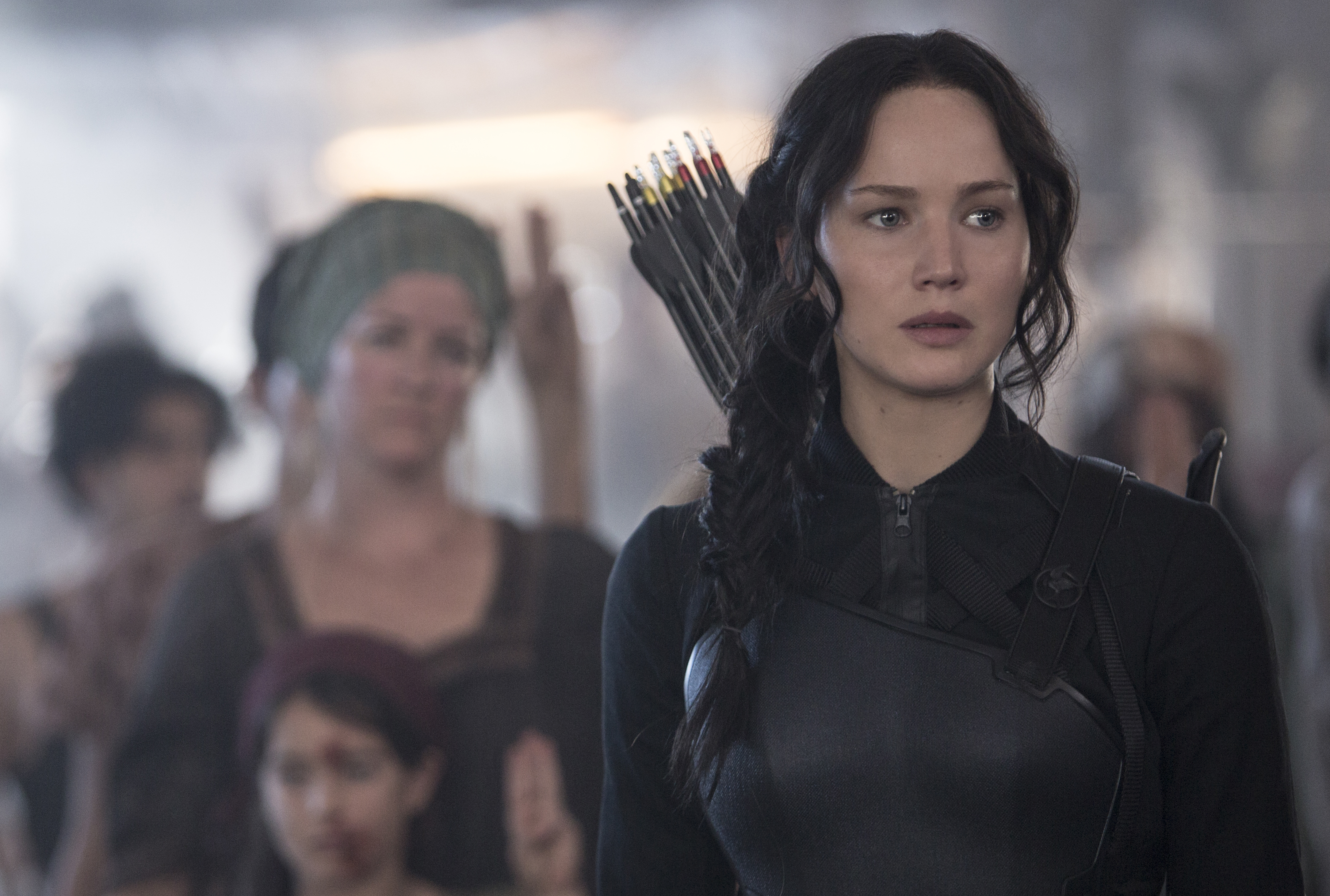 """Jennifer Lawrence stars as Katniss Everdeen in """"The Hunger Games: Mockingjay – Part 1."""" (Photo: Murray Close)"""