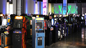 The American Art Museum's Kogod Courtyard is turned into a video arcade on Sunday. (Photo: Smithsonian American Art Museum)