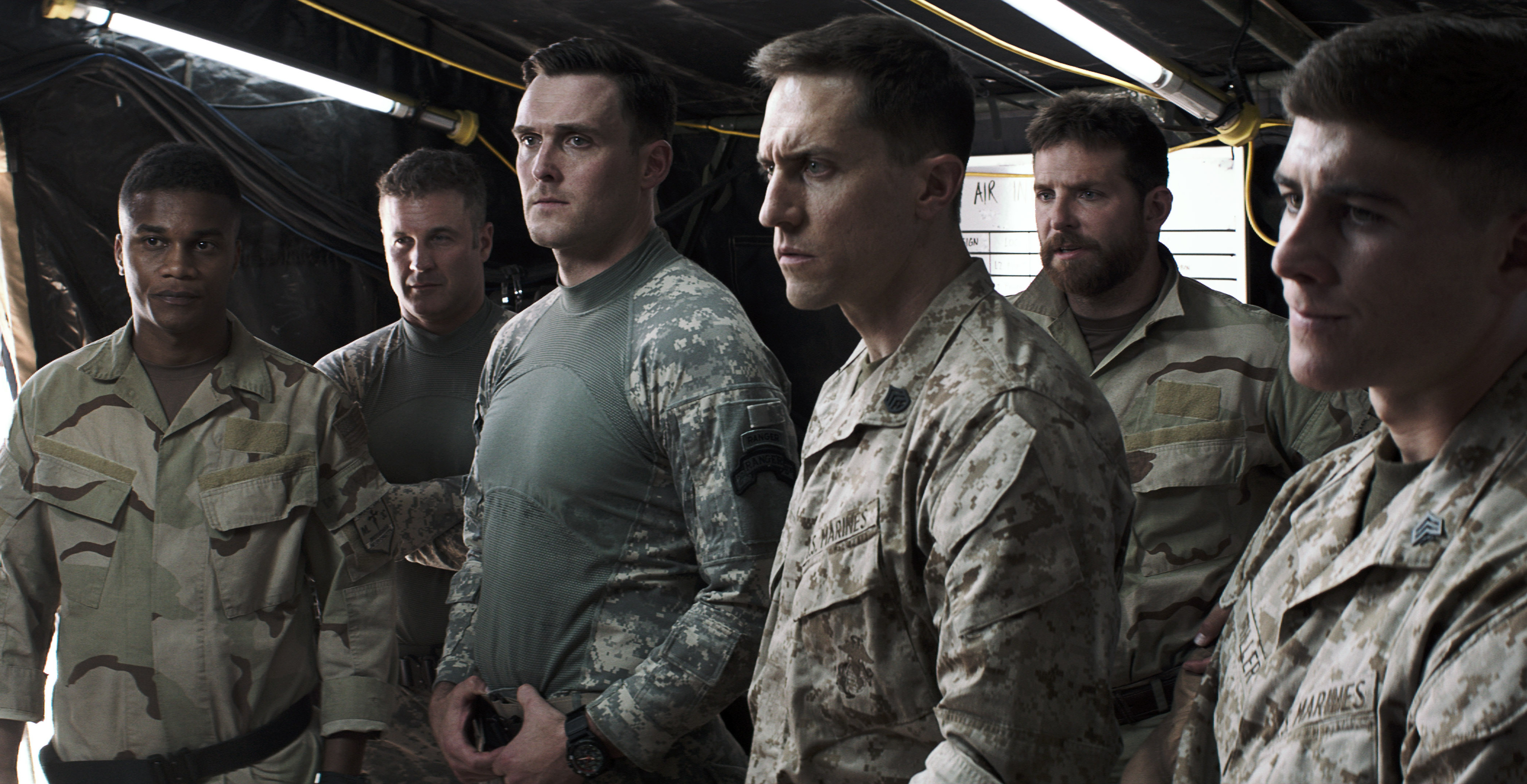 "Cory Hardrict as ""D""/Dandridge, Joel Lambert as Delta Sniper, Owain Yeoman as Ranger One, Tony Nevada as Recon Sniper, Bradley Cooper as Chris Kyle and Brett Edwards as Recon Gunner in ""American Sniper."" (Photo: Warner Bros. Pictures)"