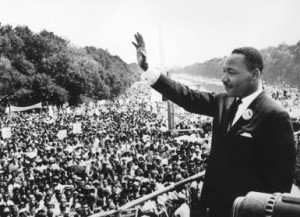 Martin Luther King Jr. addresses crowds during the March On Washington at the Lincoln Memorial.   (Photo by Central Press/Getty Images)
