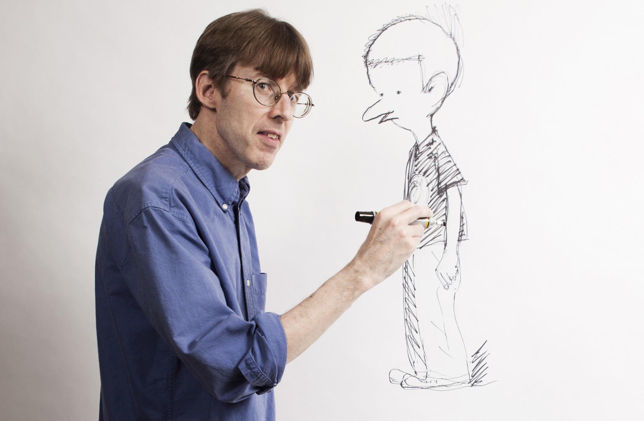 Richard Thompson, creator of the comic strip Cul de Sac, sketches Petey at his home in Arlington, Va. in 2011. (Photo: Dustin Fenstermacher)