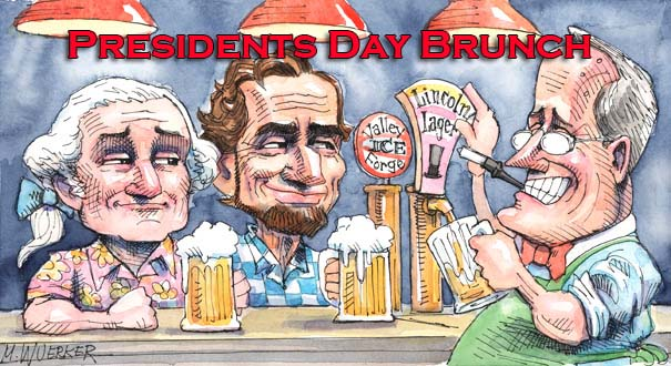 Many restaurants will be serving brunch on Presidents Day. (Drawing:  M. Wuerker)