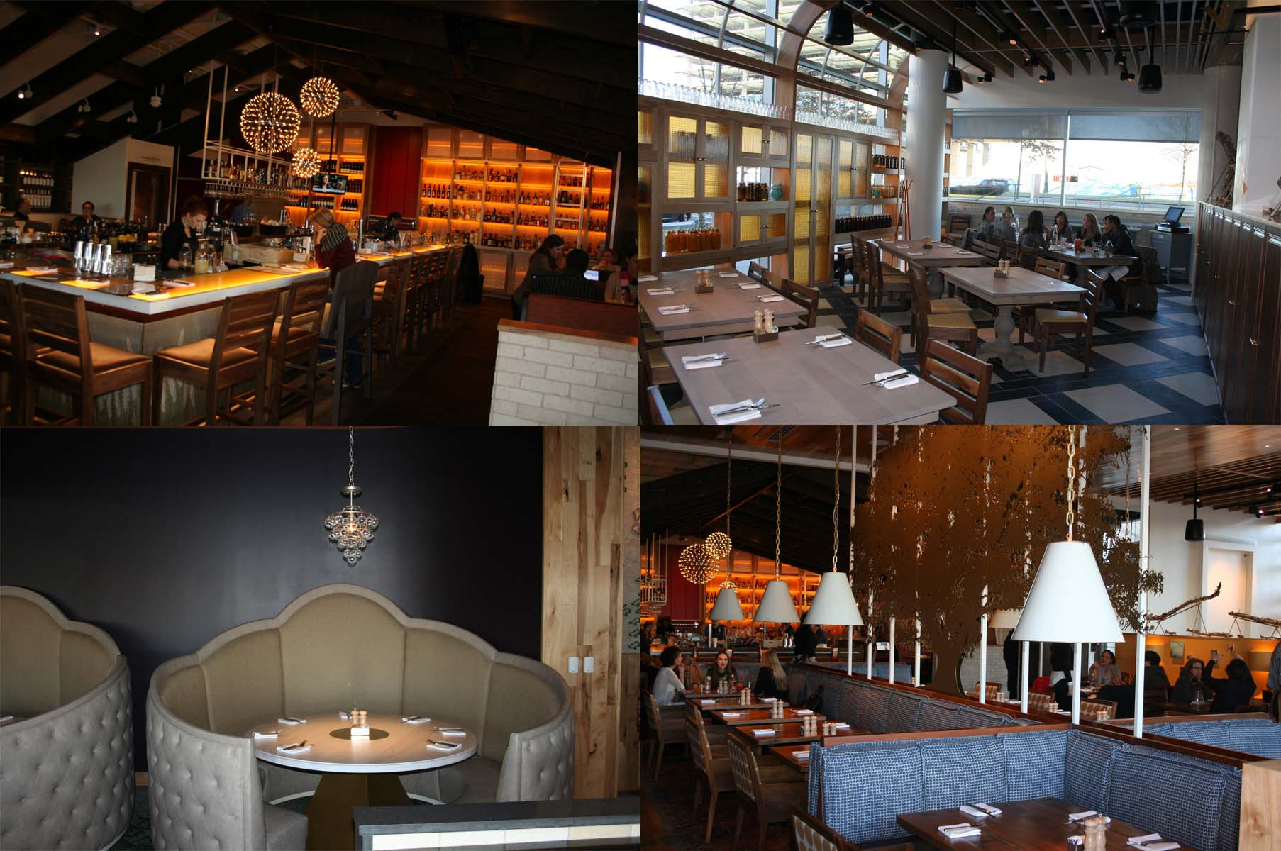 Areas in the new restaurant include (clockwise from top left), the barn, the sun room, the living room and the bedroom. (Photos: Mark Heckathorn/DC on Heels)
