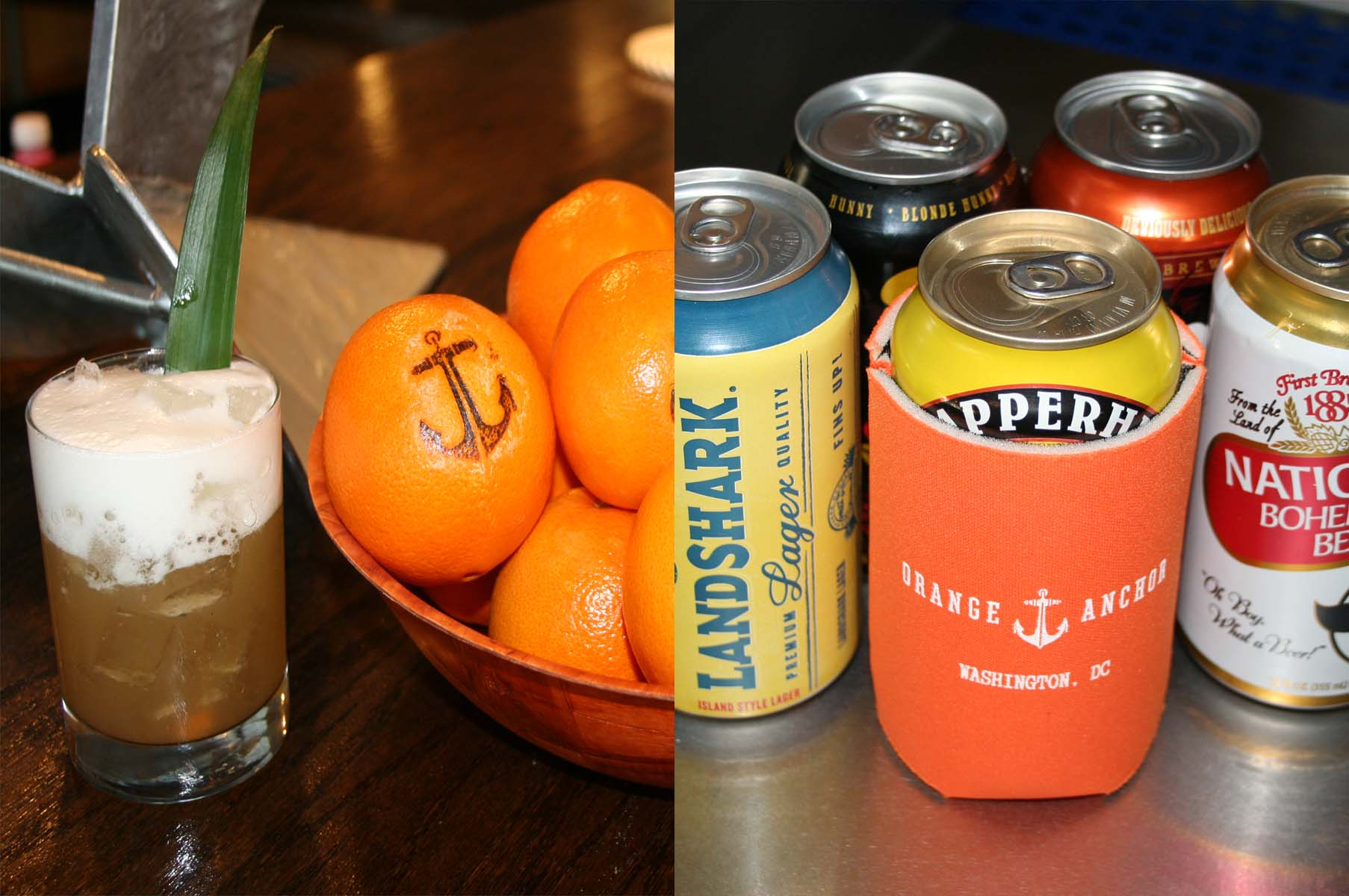 The Marlin Spike (left) is made with Avuá Cachaça, a Brazilian rum, smoked pineapple and spiced syrup over ice topped with lime foam. Ten canned beers (right) will be served in koozies. (Photos: Mark Heckathorn/DC on Heels)