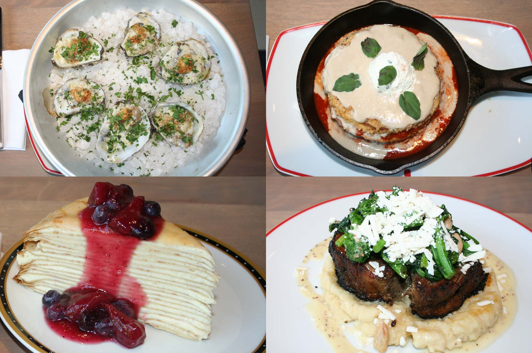 Dishes available in Tysons include (clockwise from top left)  garlic Romano baked oysters, fried eggplant marinara, porchetta and the 21-layer crepe cake. (Photos: Mark Heckathorn/DC on Heels)